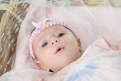 在篮子的逗人喜爱的婴孩 免版税库存照片
