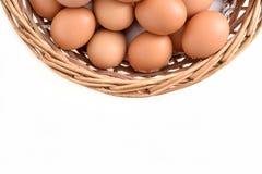 在篮子的鸡蛋在白色背景填装了隔绝 免版税库存照片