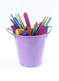 在篮子紫色的木颜色 免版税库存照片