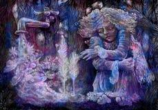 在篱芭后的一点神仙的开会有倾吐的满天星斗的水 免版税库存照片