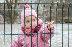 在篱芭后的小美丽的女孩婴孩,栅格在一个盖帽和一件夹克锁了激动哀伤的在他的面孔 免版税库存图片