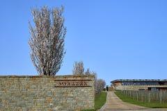 在篱芭后的开花的果树, vinary和导致有大窗口的木房子的路 免版税库存图片