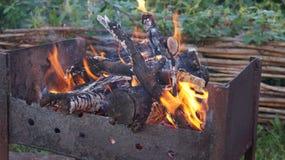在篱芭和草的背景的燃烧的木头、火和烟烤肉 免版税库存图片