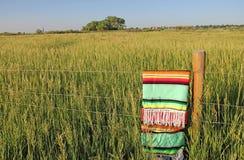 在篱芭安置的五颜六色的墨西哥人Zarape毯子 库存照片