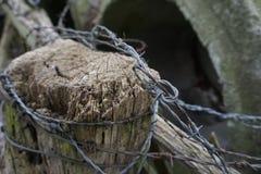 在篱芭岗位的不整洁铁丝网 库存照片