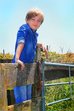 在篱芭的国家孩子 免版税库存照片
