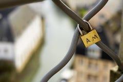在篱芭的爱锁 库存图片