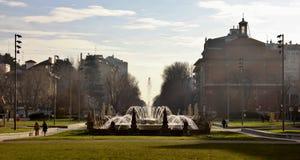 在米兰城市生活复合体都市parck的喷泉  免版税库存照片