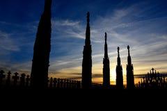 在米兰大教堂屋顶的大理石象  免版税库存图片
