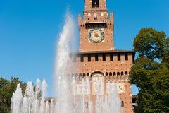 在米兰意大利- Castello Sforzesco的Sforza城堡 免版税库存图片