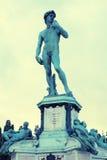 在米开朗基罗广场的大卫雕象在佛罗伦萨,意大利 库存照片