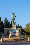 在米开朗基罗广场的大卫雕象在hillsid的朱塞佩Poggi 免版税库存照片