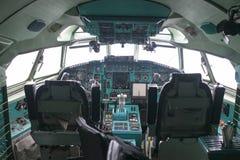 在米斯克机场,白俄罗斯的驾驶舱图波列夫154 库存图片
