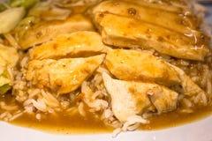 在米的鸡和鸭子蒸汽 关闭  库存照片