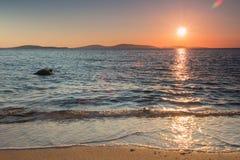 在米科诺斯岛一的日落 免版税库存图片