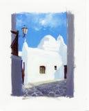 在米科诺斯岛,希腊海岛上的古老教会  免版税图库摄影