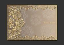 在米黄背景的金黄葡萄酒贺卡 豪华装饰品模板 伟大为邀请,飞行物,菜单,小册子, postcar 皇族释放例证