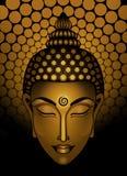 在米黄背景的古铜色菩萨头 图库摄影