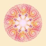 在米黄背景的抽象五颜六色的花花圈 图库摄影