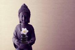 在米黄背景的菩萨雕象与花 库存照片