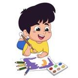 在类孩子在木头和水彩的想象力的纸画 免版税库存图片