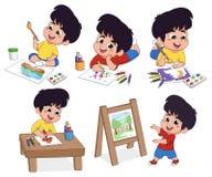 在类孩子在木头和水彩的想象力的纸画 库存照片