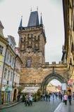 在粉末塔的看法在布拉格,捷克 免版税库存照片