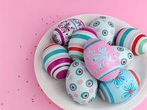 在粉红色的复活节彩蛋 库存例证