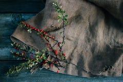 在粗麻布和木背景的秋天伏牛花 图库摄影