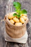 在粗麻布大袋的婴孩土豆在木背景 免版税图库摄影
