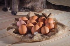 在粗麻布的红皮蛋在一张木桌和一只猫上在背景中 免版税库存照片