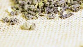 在粗麻布的绿茶茉莉花 股票视频