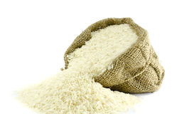 在粗麻布袋子的米 免版税库存图片
