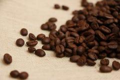 在粗麻布5的咖啡豆 图库摄影