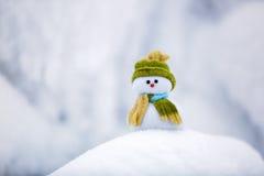 在精密帽子和围巾的单独雪人有红色鼻子的 免版税图库摄影