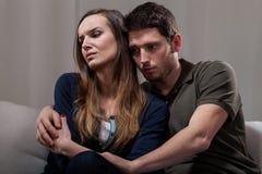 在精神疗法期间的夫妇问题 库存图片