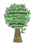 在精神的果子上写字的手是喜悦,爱,和平,长期受苦,仁慈,善良,faithfullness,温和 向量例证