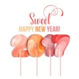 在糖果棍子形状的新年2017年在白色的 免版税图库摄影