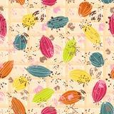 在糖果颜色的五颜六色的风格化恶荚在白色巧克力片剂 无缝的传染媒介样式背景 库存例证