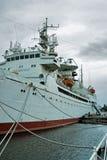 在系泊的科学船Vityaz 加里宁格勒 免版税库存照片