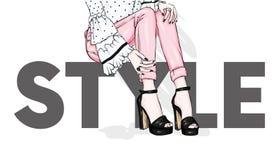 在紧的长裤和高跟鞋的长的苗条腿 时尚、样式、衣物和辅助部件 也corel凹道例证向量 向量例证