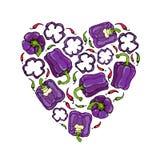 在紫罗兰色响铃Peper心脏形状花圈的紫色 一半胡椒裁减甜辣椒粉和圆环  新鲜成熟未加工 免版税库存照片