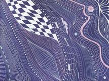 在紫罗兰色纸的抽象样式由银色笔 库存图片