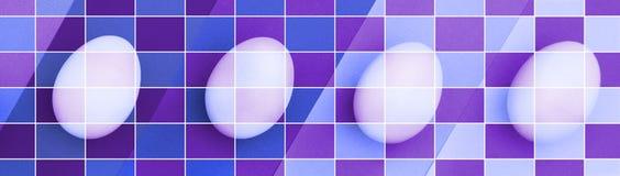 在紫罗兰色背景的复活节彩蛋 一个假日和复活节快乐的概念 顶视图 颜色栅格马赛克作用 库存照片
