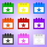 在紫罗兰色背景隔绝的设置色的生日日历 您的设计的传染媒介例证,比赛,卡片 库存例证