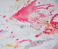 在紫罗兰色金黄桃红色颜色的水彩闪耀的形状 免版税库存照片