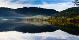 在紫胶de Longemer的有雾的早晨 库存照片