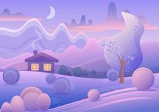 在紫色冬天森林里导航逗人喜爱的动画片风景的例证与小屋的 免版税库存照片