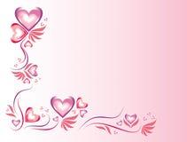 在紫色和桃红色颜色的美好的心脏和在白色和桃红色的流动的背景 库存照片