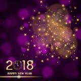在紫色四周被弄脏的背景的金黄光摘要 新年2018年概念 豪华设计 图库摄影